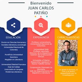 Un Saludo de bienvenida para Juan Carlos Patiño nuestro nuevo Coordinador Académico