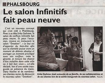 Article républicain Lorrain - 9 Février 2016 suite rénovation salon de coiffure infini'tifs Phalsbourg