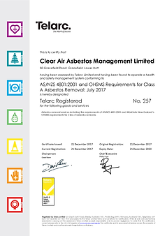 Clear Air Certificate ASNZS4801 and Asbe