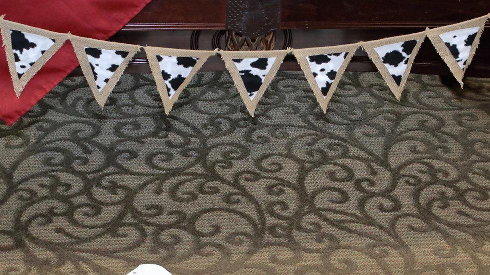 Cow Print Burlap Pennant Banner