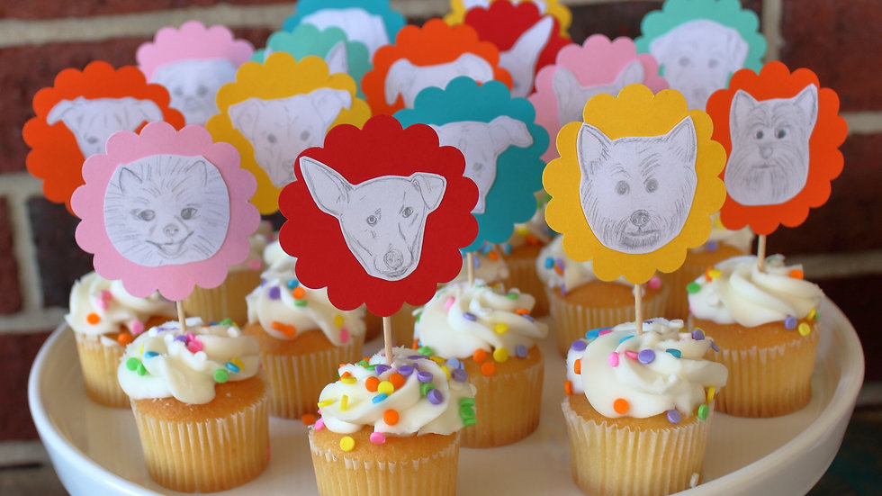"""Party Theme"" Custom Cupcake Toppers 