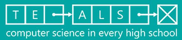 Green and white TEALS computer science logo