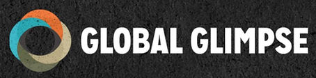 Black, teal, red, and gold Global Glimpse logo