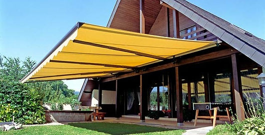 Exterior motorized awnings, exterior shading, Sunbrella, Windowear Blinds, Shades and Draperies in Austin, Lakeway, Bee Cave
