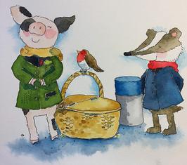 Pigin and Badger listening