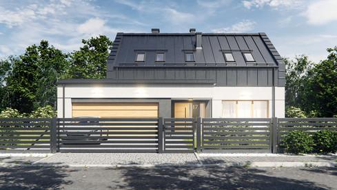 Wizualizacja domu z ogrodzeniem