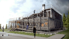 """Koncepcja budynku """"social space"""" dla Instytutu Lotnictwa Warszawie"""