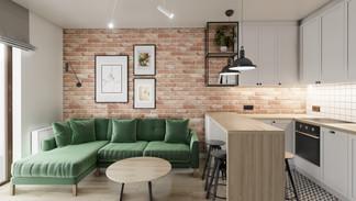 Pokój dzienny w mieszkaniu - Gdańsk Brzeźno