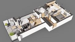 Wizualizacja wraz z aranżacją mieszkania w Ustce.