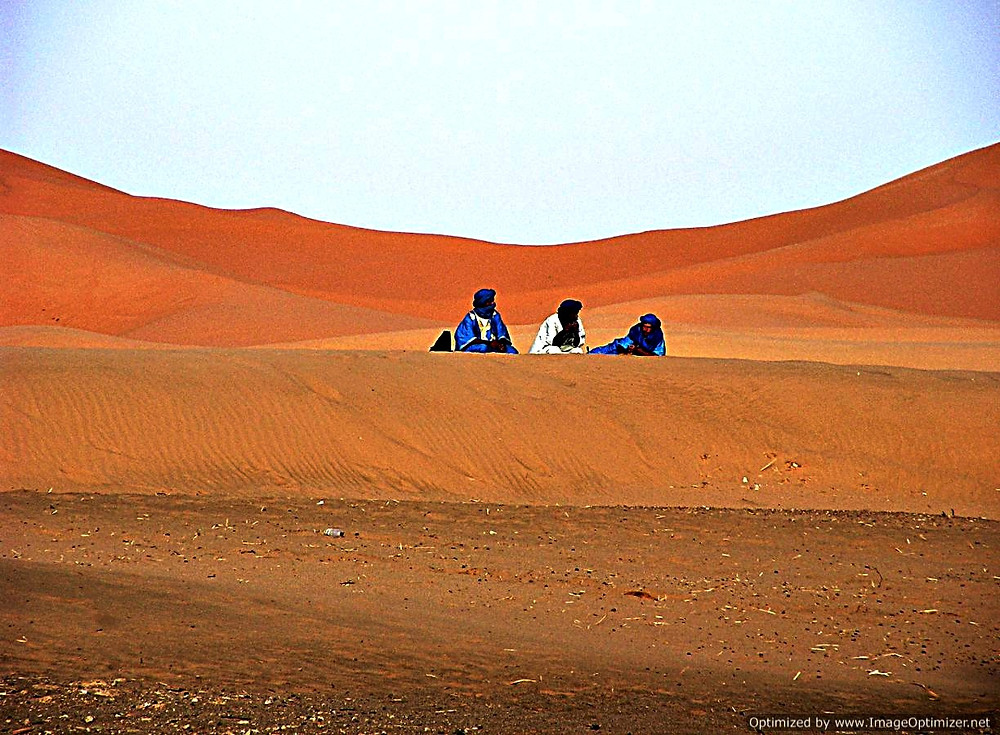 Berbers at the edge of the Sahara, near Merzouga, Morocco