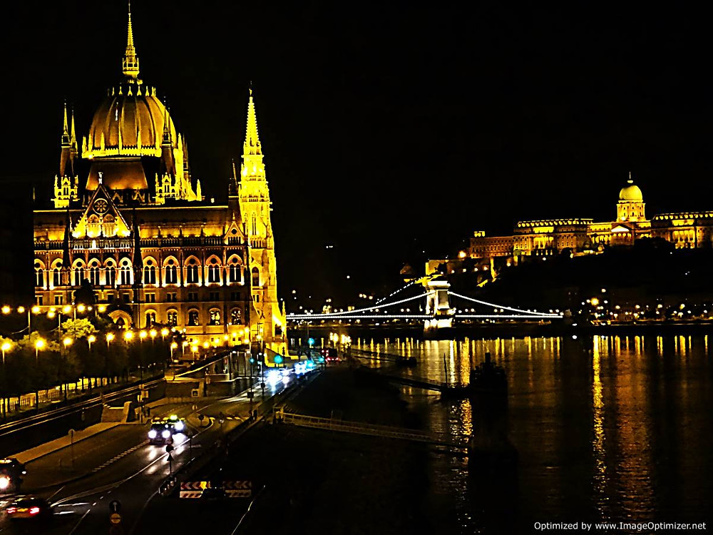 Budapest Parliament Building, Chain Bridge and Castle, by night