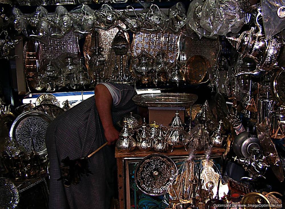 Metalware shop, Fes souq, Morocco