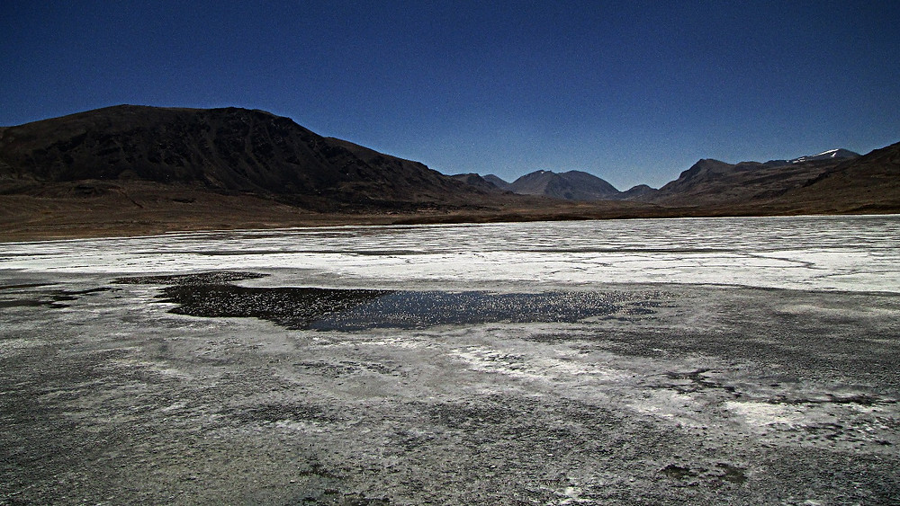Salt lake, Pamir Highway, Tajikistan