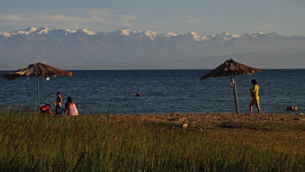 The Tien Shan mountains above Lake Issykkul, Kyrgyzstan