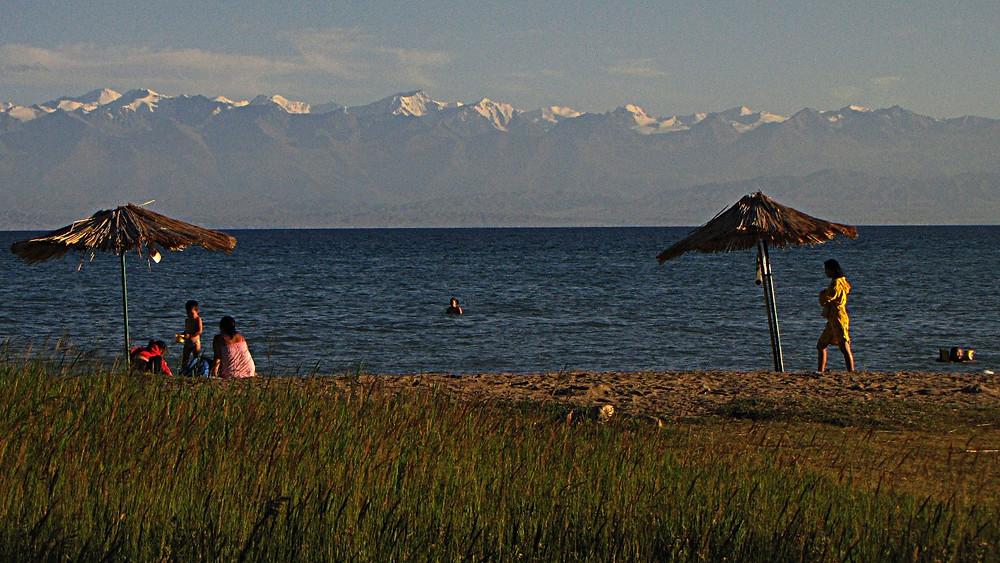 The Tien Shan mountains above Lake Issykkul, Kyrgyzstan