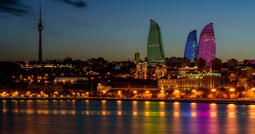 Night view of the new Flame Towers in Baku