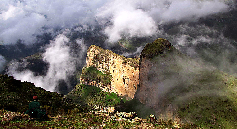 Looking out over a gorge near Chenek, Simien Mountains, central Ethiopia