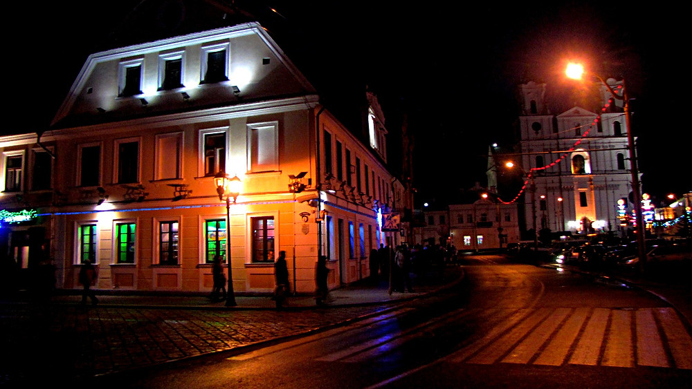 Central Grodno by night, Belarus