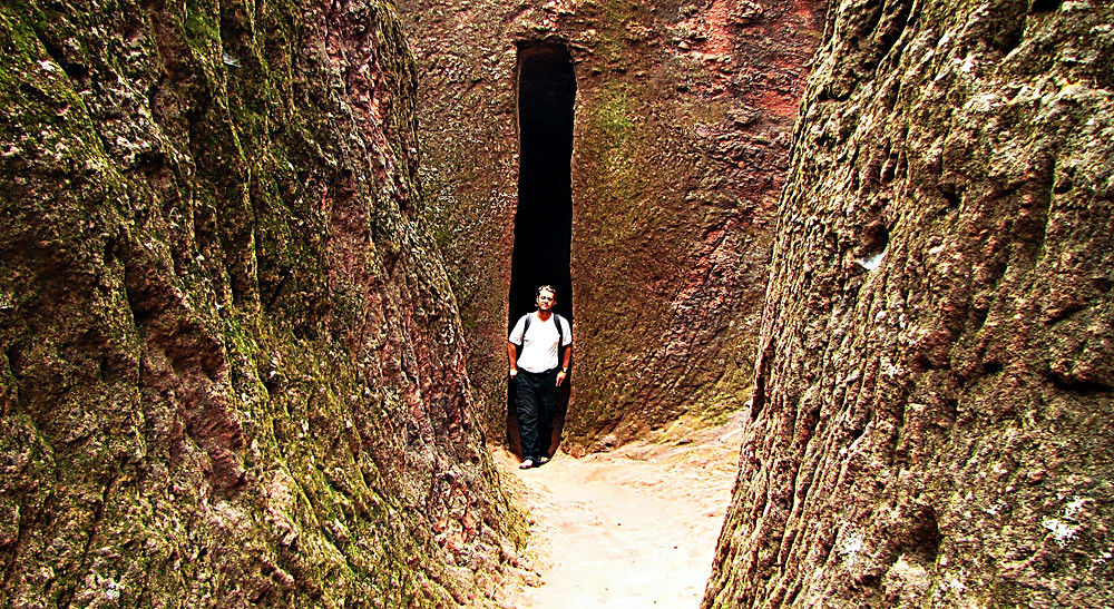 tunnels lead between the rock-hewn churches, Lalibela, Ethiopia