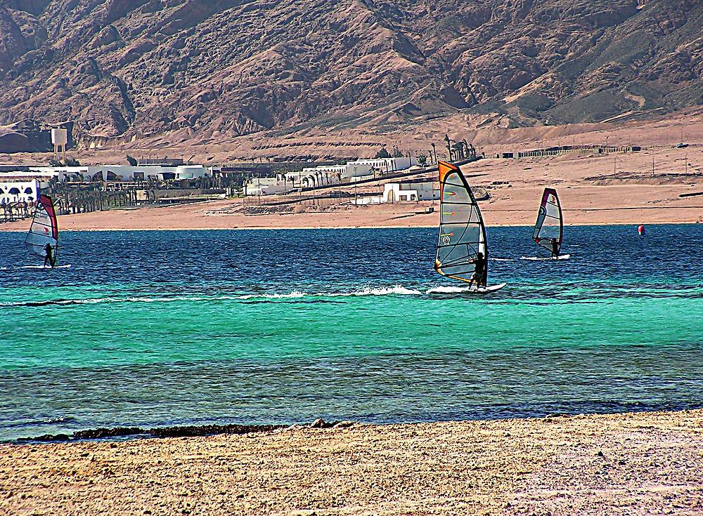 Windsurfers off the Dahab coast, Sinai, Egypt