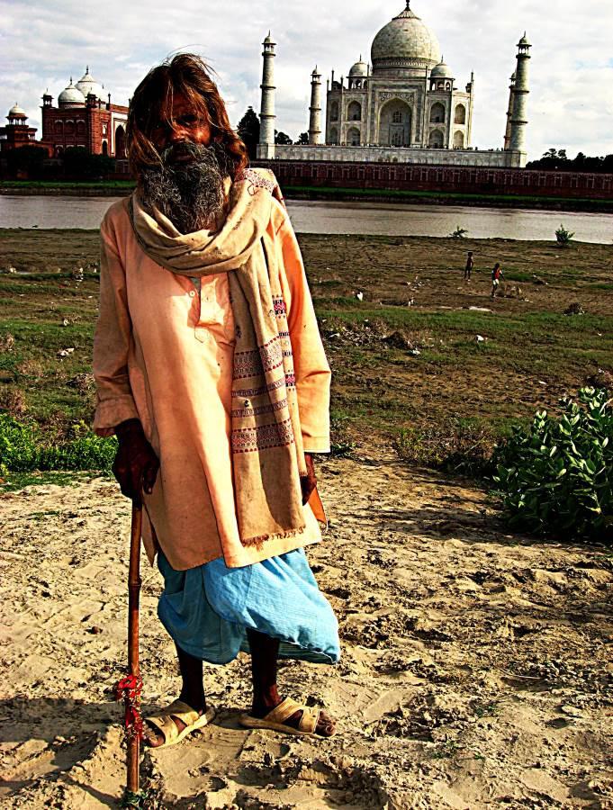 Indian man by the river Yamuna, Taj Mahal, Agra