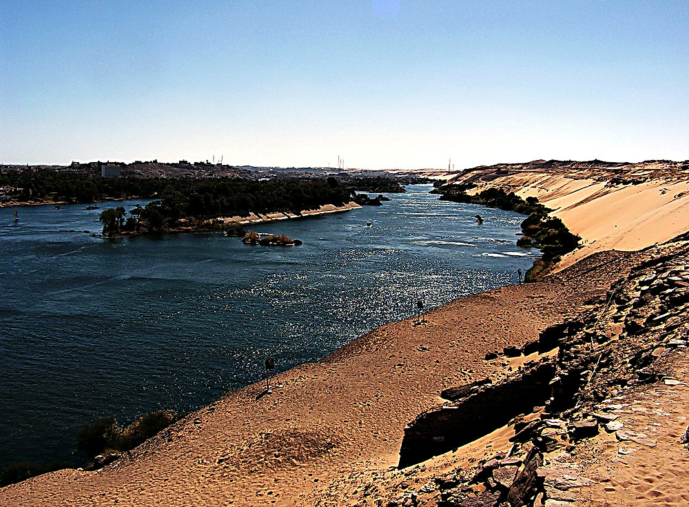 Aswan: looking over the Nile to Elephantine Isle, Egypt