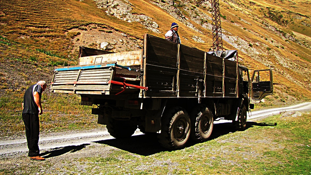 Truck, hitch-hiking, Tusheti region, Georgia