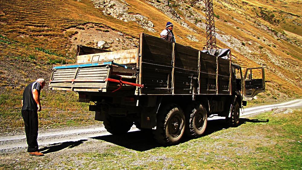 Truck, hitch-hiking, Tusheti region, Georgia