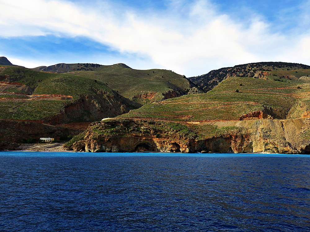 View of the coastline near Loutro from the sea, south west Crete