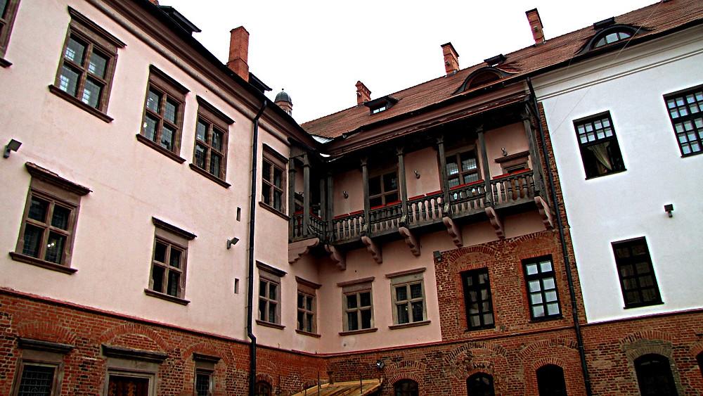 Courtyard outside Mir Castle, Belarus