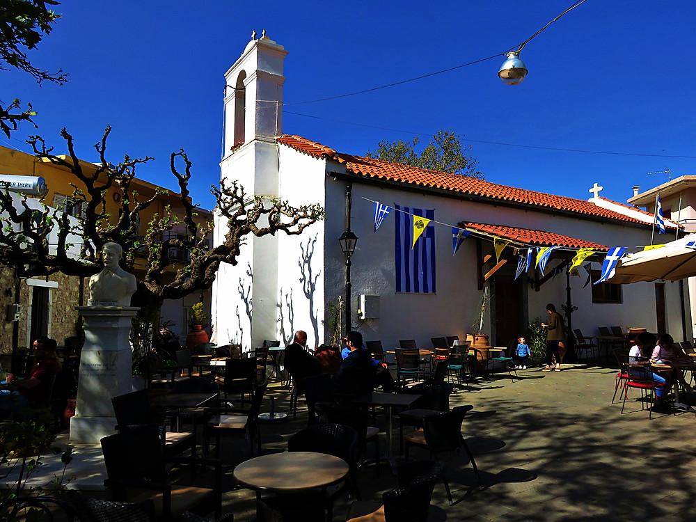 Church and terrace, Anogia, north Crete
