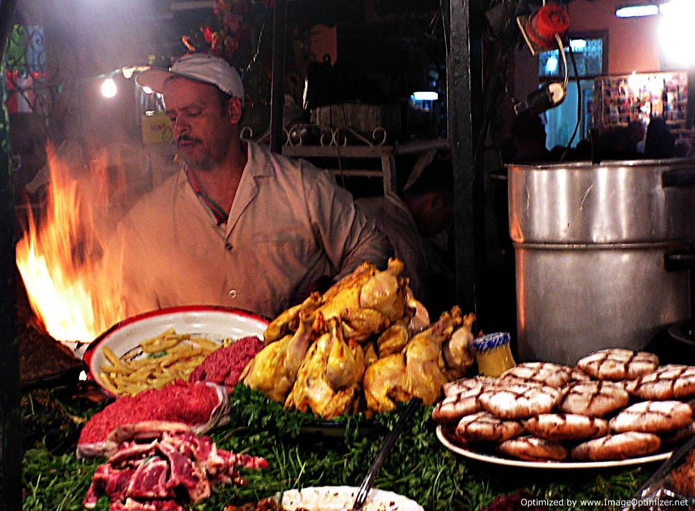 Grilled meat seller, central Marrakesh