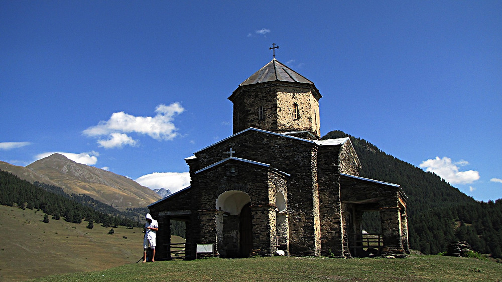 Orthodox church near Shenako, Tusheti, Georgia
