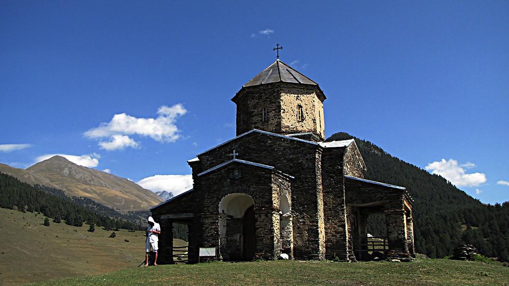 Orthodox church near Shenako, Tusheti, Georgia