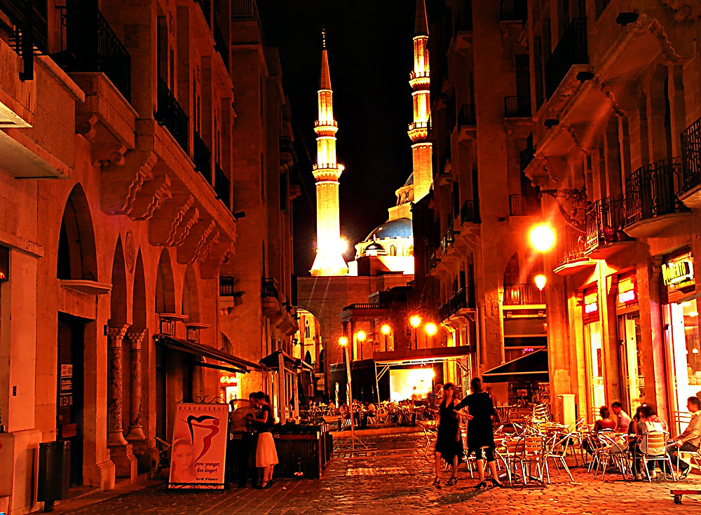 Downtown Beirut by night, Lebanon