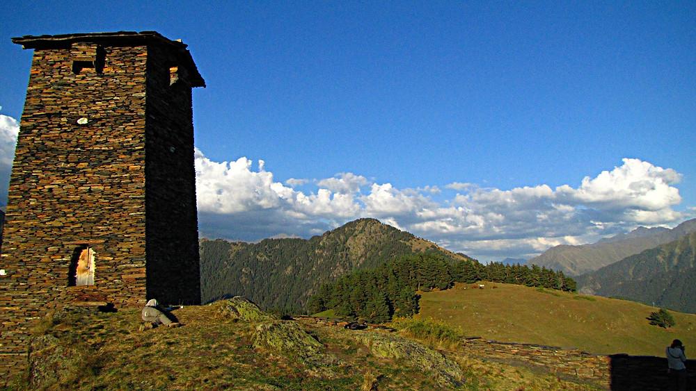 Defensive tower above Omalo, Tusheti region, Georgia