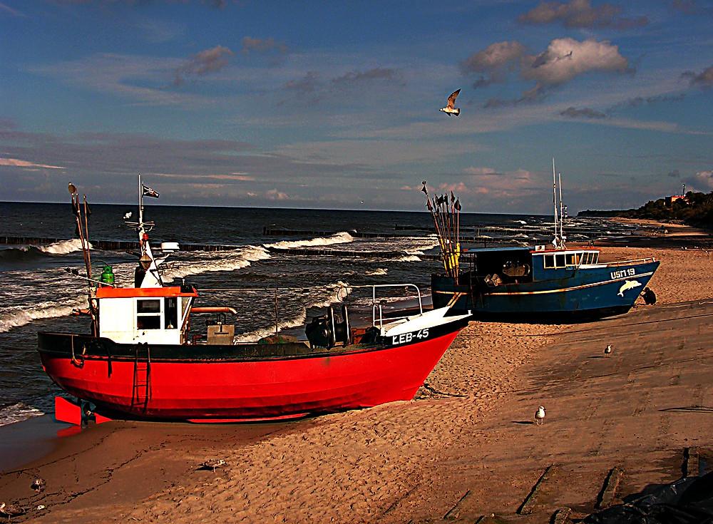 Fishing boats near Darlowo, Baltic Sea, northern Poland
