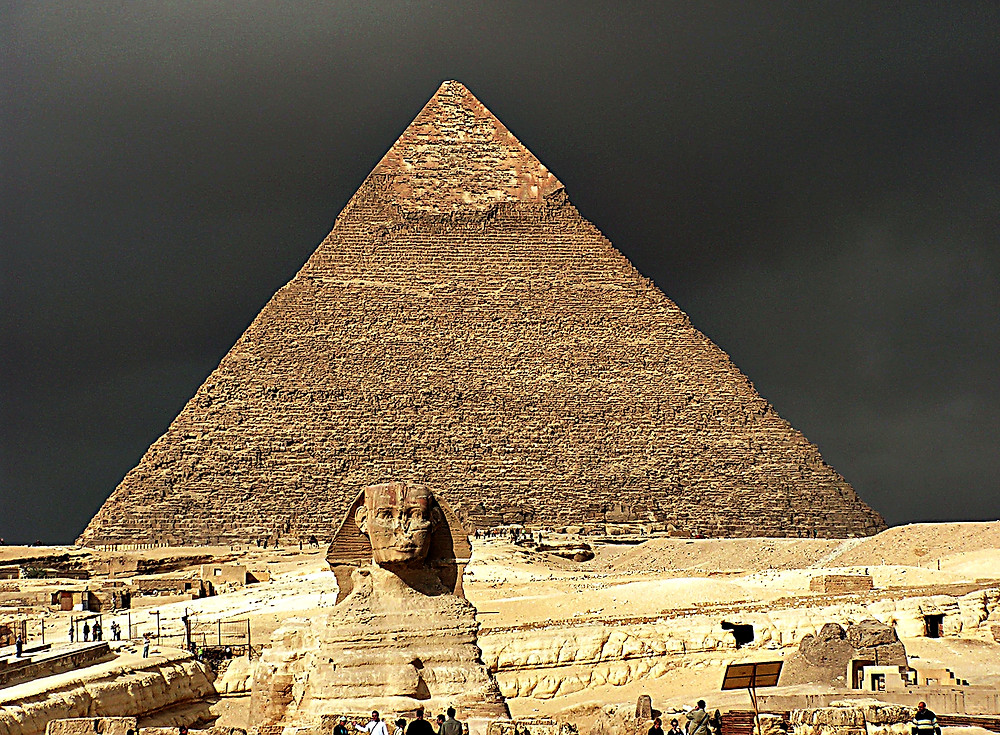 The Sphynx and the Pyramid of Khafre, Giza, Cairo, Egypt