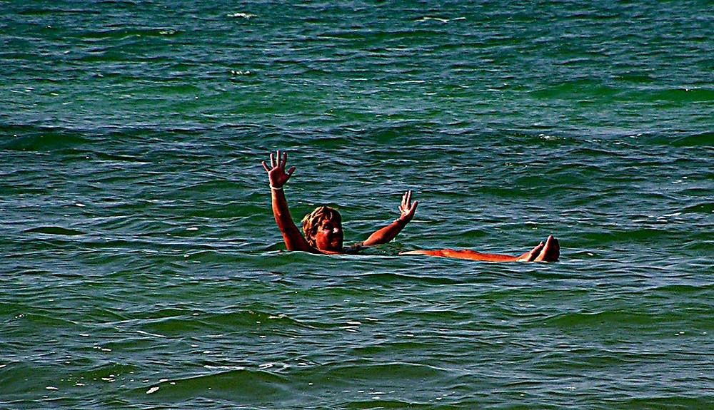 Dead Sea 'floating' shot, Jordan