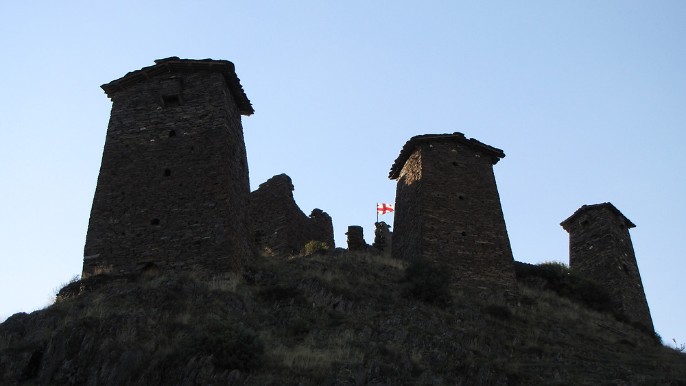 Stone towers, Omalo, Tusheti, Georgia