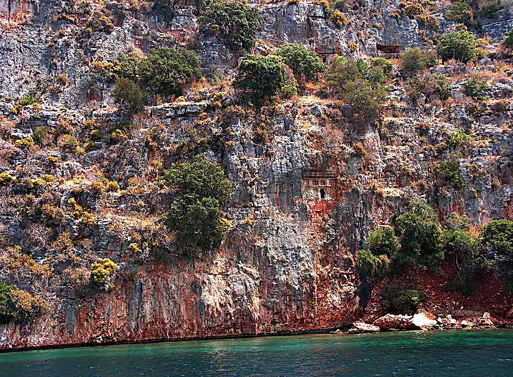 Tombs in the cliff - Bay of Kekova near Kas, Turkey