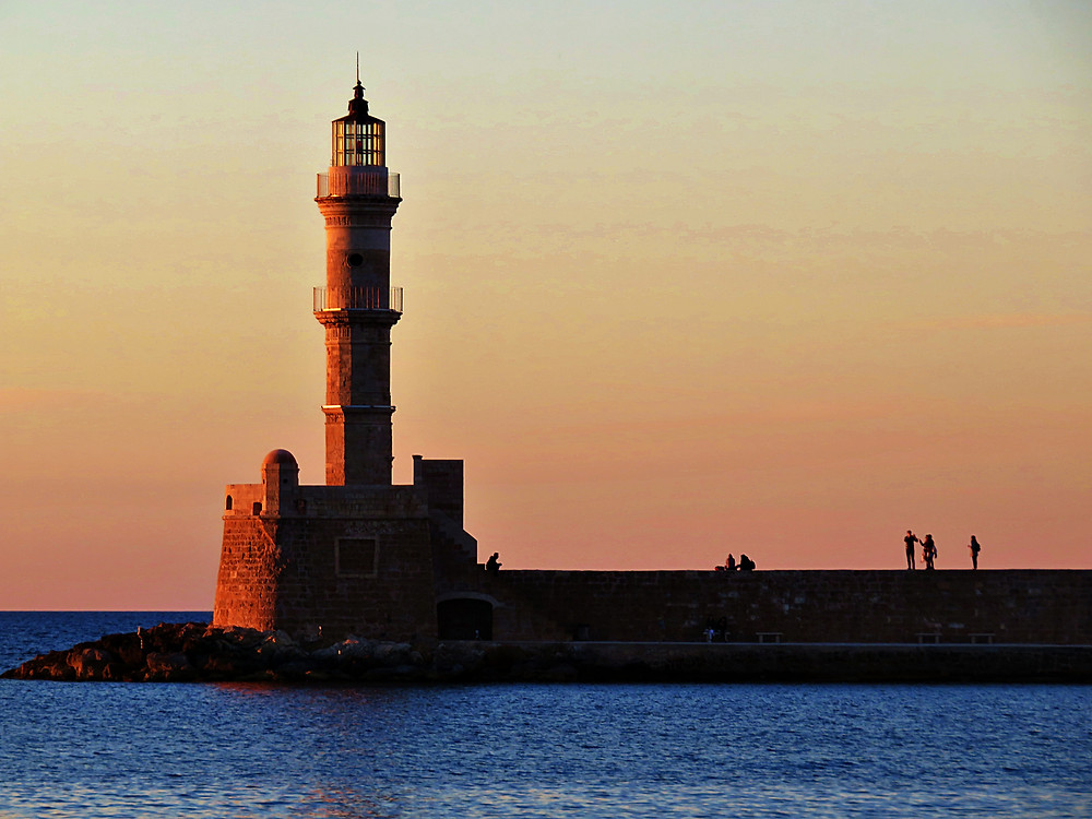 Chania pier and lighthouse, northern Crete