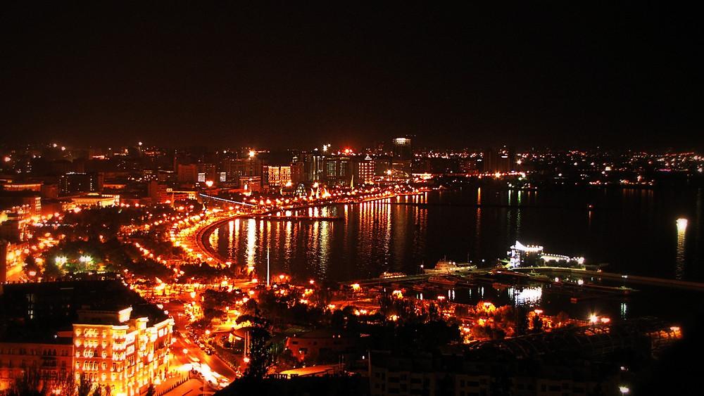 View over the Bay of Baku by night, Azerbaijan
