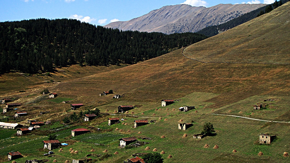 Scattered dwellings near to Omalo, Tusheti, Georgia