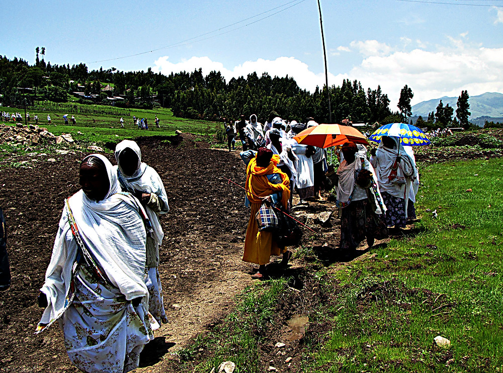 Local people going to church, near Addis Ababa, Ethiopia