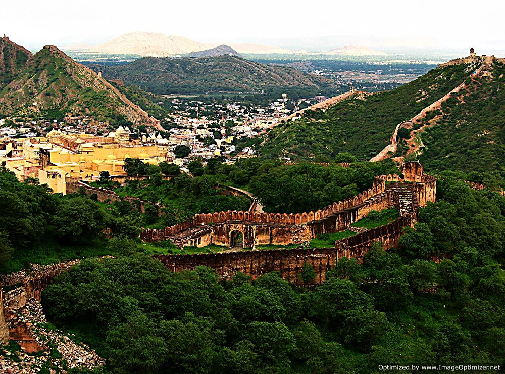 View of Jaipur from its fortress, Rajasthan, India