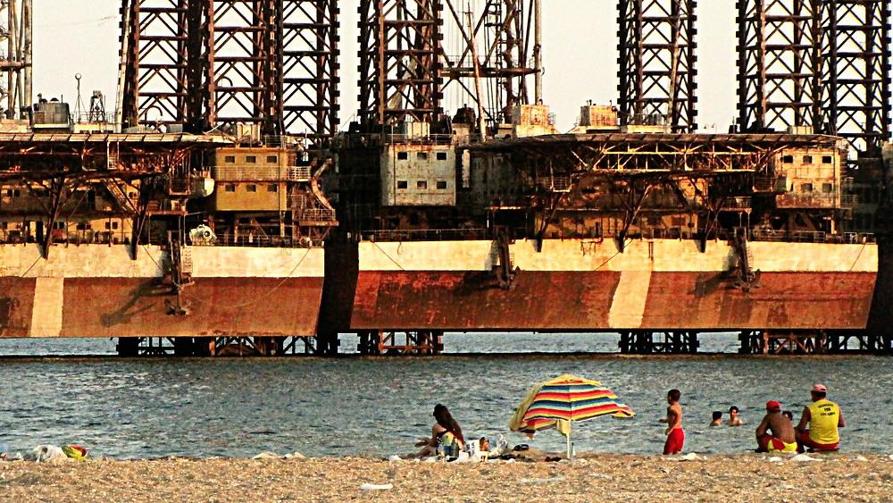 Oil rig, Bay of Baku, Azerbaijan