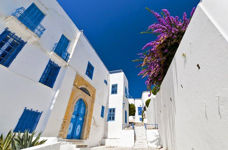 Sidi Bou Said street view, Tunisia