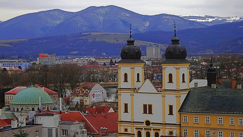 Former Synagogue, Piarist Church and White Carpathian Hills, Trencin, Slovakia