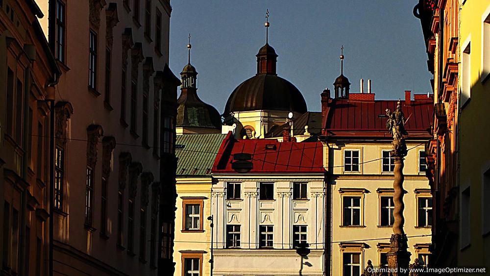 Olomouc: Dolni Namesti and the Church of St. Michael